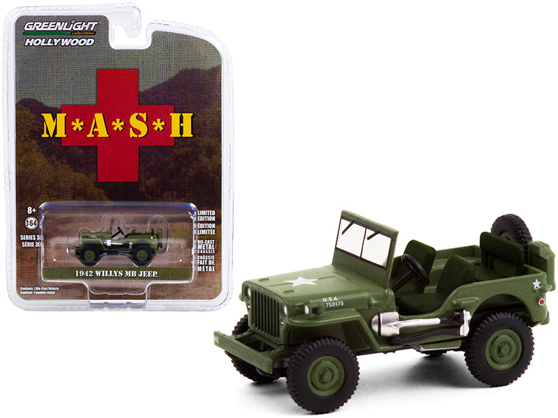 "1942 Willys MB Jeep Army Green ""MASH"" (1972-1983) TV Series ""Hollywood Series"" Release 30 Diecast 1:64 Model Car - Greenlight - 44900A"