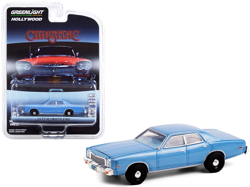 "1977 Plymouth Fury Steel Blue (Detective Rudolph Junkins') ""Christine"" (1983) Movie ""Hollywood Series"" Release 30 Diecast 1:64 Model Car - Greenlight - 44900B"