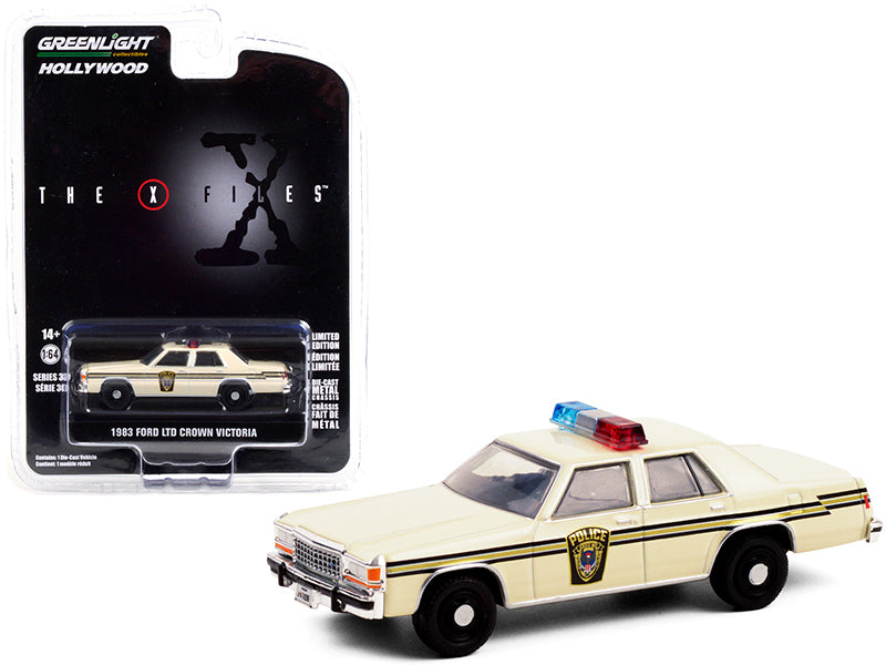 "1983 Ford LTD Crown Victoria Cream ""Ardis MD Police"" ""The X-Files"" (1993-2002) TV Series ""Hollywood Series"" Release 30 Diecast 1:64 Model Car - Greenlight - 44900C"