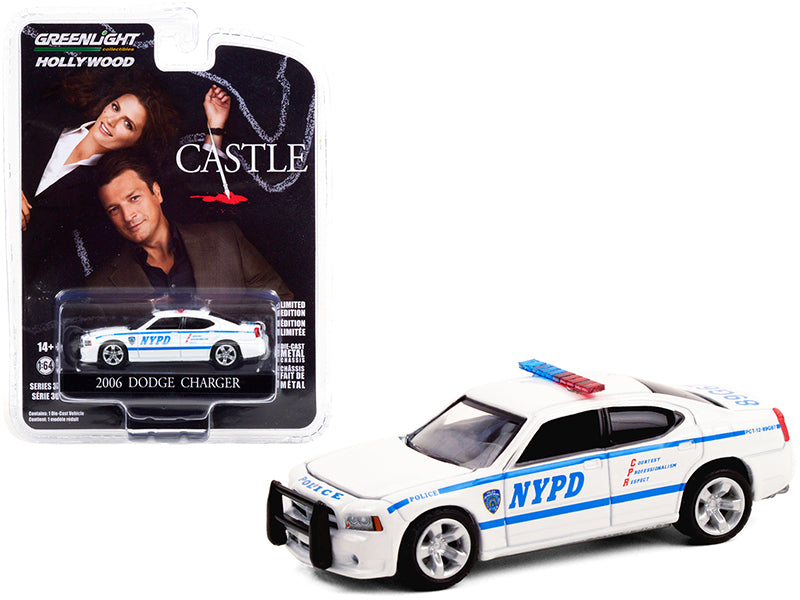 "2006 Dodge Charger White ""New York City Police Department"" (NYPD) ""Castle"" (2009-2016) TV Series ""Hollywood Series"" Release 30 Diecast 1:64 Model Car - Greenlight - 44900D"