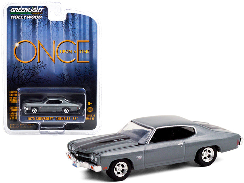 "1970 Chevrolet Chevelle SS 454 Dark Gray with Black Stripes ""Once Upon A Time"" (2011-2018) TV Series ""Hollywood Series"" Release 30 Diecast 1:64 Model Car - Greenlight - 44900E"