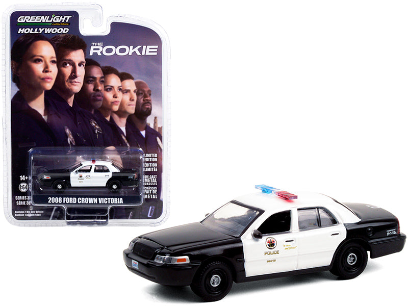 "2008 Ford Crown Victoria Police Interceptor Black and White ""Los Angeles Police Department"" (LAPD) ""The Rookie"" (2018) TV Series ""Hollywood Series"" Release 30 Diecast 1:64 Model Car - Greenlight - 44900F"