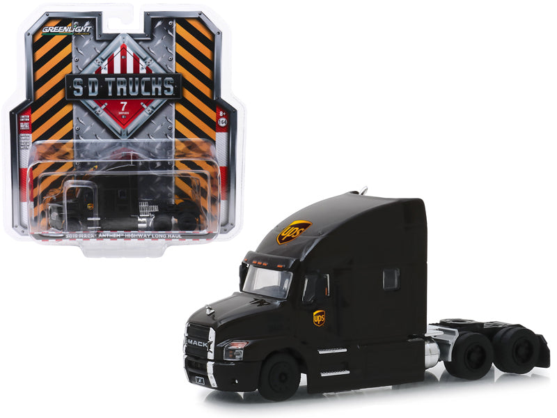 "2019 Mack Anthem Highway Long Haul Truck Brown ""UPS"" (United Parcel Service) ""S.D. Trucks"" Series 7 1:64 Diecast Model - Greenlight - 45070A"