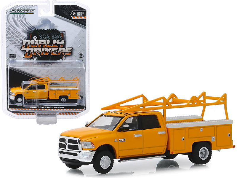 "2018 Dodge Ram 3500 Laramie Service Bed Truck w/ Ladder Rack Yellow ""Dually Drivers"" Series 2 1/64 Diecast Model Car - Greenlight - 46020C"