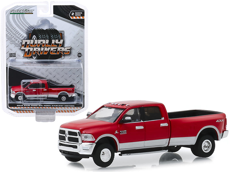 "2018 Dodge Ram 3500 4x4 Big Horn Pickup Truck ""Harvest Edition"" Red ""Dually Drivers"" Series 2 1/64 Diecast Model Car - Greenlight - 46020D"