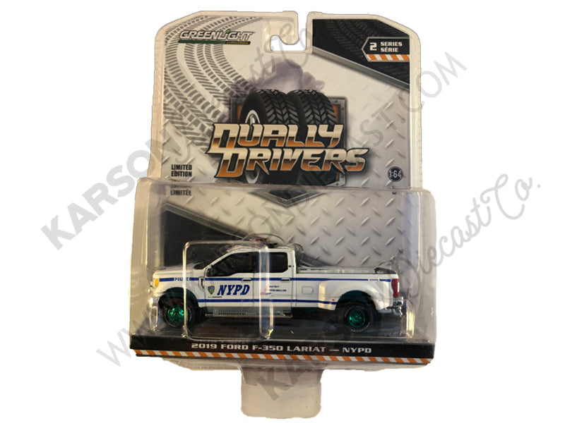 "2019 Ford F-350 Lariat Pickup Truck ""New York City Police Dept"" (NYPD) ""Dually Drivers"" Series 2 1/64 Diecast Model Car - Greenlight - 46020F - CHASE GREEN MACHINE"