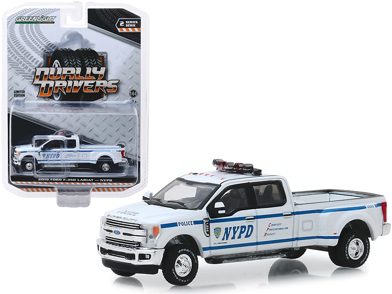 "2019 Ford F-350 Lariat Pickup Truck ""New York City Police Dept"" (NYPD) ""Dually Drivers"" Series 2 1/64 Diecast Model Car - Greenlight - 46020F"