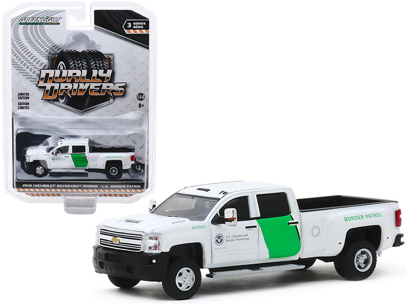 "2018 Chevrolet Silverado 3500HD Dually Pickup Truck ""U.S. Customs and Border Protection Border Patrol"" White ""Dually Drivers"" Series 3 Diecast 1:64 Model - Greenlight - 46030B"