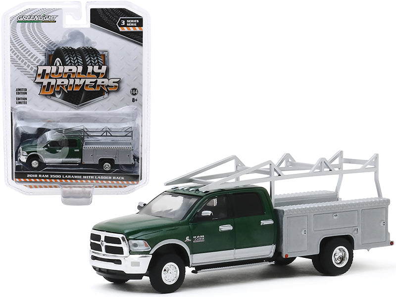 "2018 Dodge Ram 3500 Laramie Dually Service Bed Truck with Ladder Rack Green Metallic and Gray Metallic ""Dually Drivers"" Series 3 Diecast 1:64 Model - Greenlight - 46030C"