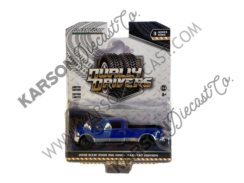 "CHASE 2018 Dodge Ram 3500 Big Horn Harvest Edition Dually Pickup Truck New Holland Blue ""Dually Drivers"" Series 3 Diecast 1:64 Model - Greenlight - 46030D"