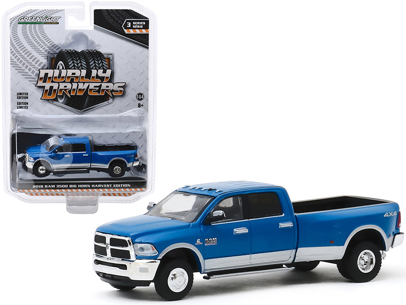 "2018 Dodge Ram 3500 Big Horn Harvest Edition Dually Pickup Truck New Holland Blue ""Dually Drivers"" Series 3 Diecast 1:64 Model - Greenlight - 46030D"