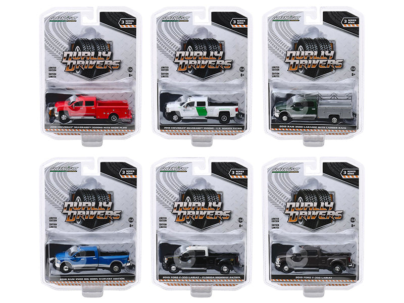 """Dually Drivers"" Series 3, Set of 6 Trucks Diecast 1:64 Model Cars - Greenlight - 46030"