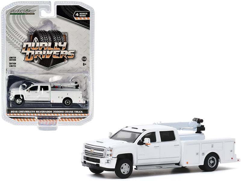 "2016 Chevrolet Silverado 3500HD Dually Crane Truck ""Dually Drivers"" Series 4 Model 1:64 Diecast - Greenlight - 46040A"