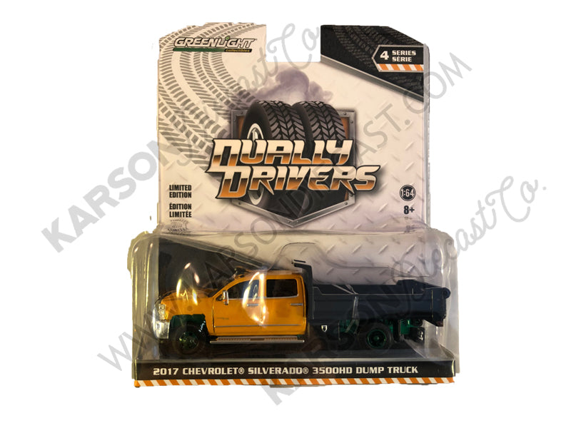 "2017 Chevrolet Silverado 3500HD Dually Dump Truck Orange and Black ""Dually Drivers"" Series 4 Model 1:64 Diecast - Greenlight - 46040B-CHASE"