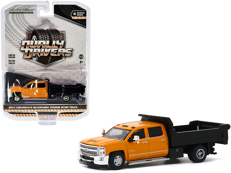"2017 Chevrolet Silverado 3500HD Dually Dump Truck Orange and Black ""Dually Drivers"" Series 4 Model 1:64 Diecast - Greenlight - 46040B"