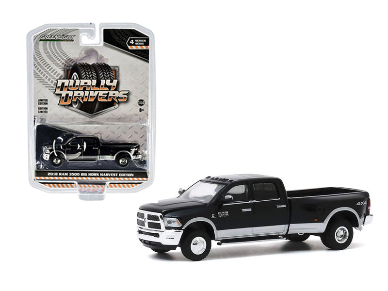 "2018 Ram 3500 Big Horn Edition Black ""Dually Drivers"" Series 4 Model 1:64 Diecast - Greenlight - 46040E"