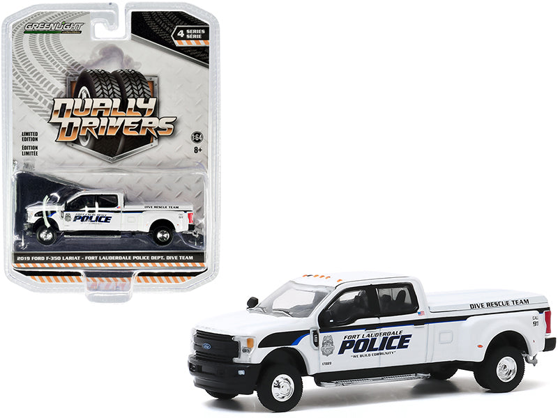 "2019 Ford F-350 Lariat Dually Pickup Truck White ""Fort Lauderdale Police Department"" Dive Rescue Team (Florida) ""Dually Drivers"" Series 4 Diecast 1:64 Model - Greenlight - 46040F"