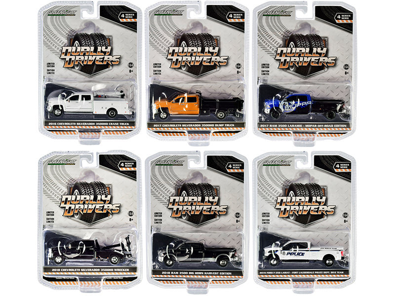 """Dually Drivers"" Set of 6 Trucks Series 4 1:64 Diecast Model - Greenlight - 46040SET"