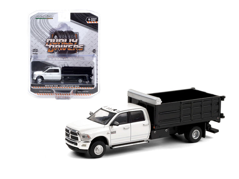 "2018 Ram 3500 Dually Landscaper Dump Truck in Bright White ""Dually Drivers"" Series 6 Diecast 1:64 Model Car - Greenlight - 46060D"