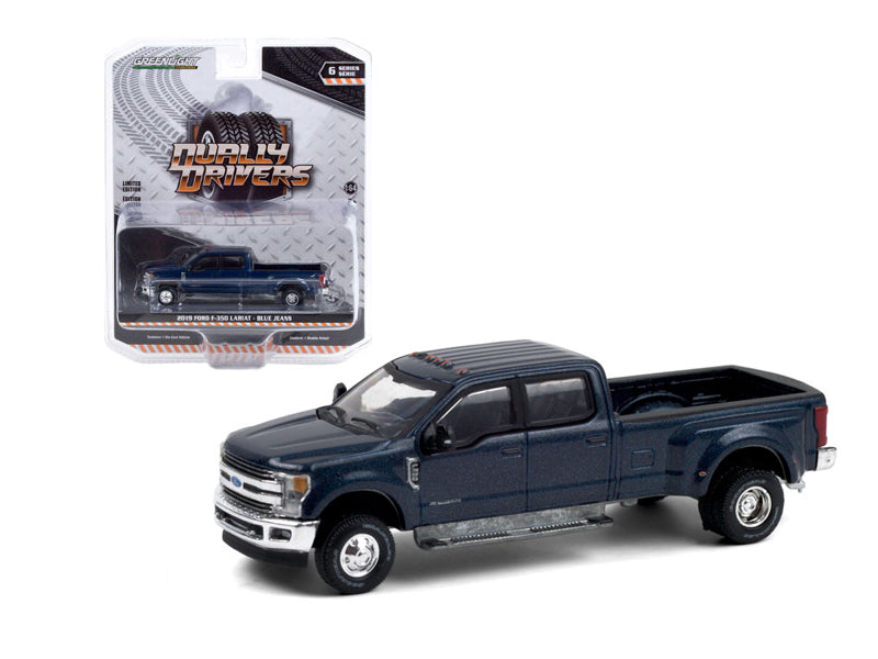 "2019 Ford F-350 Lariat Dually Pickup Truck Blue Jeans Metallic ""Dually Drivers"" Series 6 Diecast 1:64 Model Car - Greenlight - 46060F"