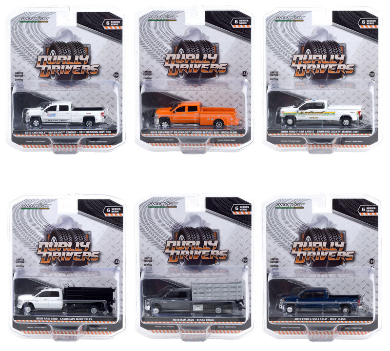 """Dually Drivers"" Series 6 Set of Six Diecast 1:64 Model Cars - Greenlight - 46060"