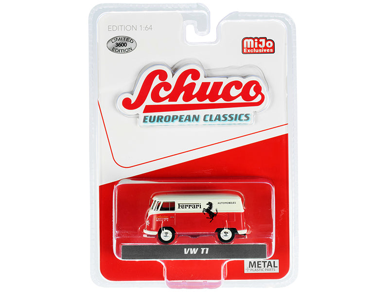 "Volkswagen T1 Panel Bus ""Ferrari Automobiles"" Red and Cream ""European Classics"" Series Limited Edition to 3600 Worldwide 1:64 Diecast Model - Schuco 4700"