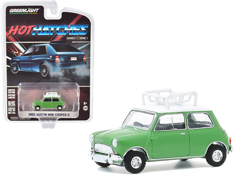 "1965 Austin Mini Cooper S with Roof Rack Green w/ White Top ""Hot Hatches"" Series 1 Diecast 1:64 Model Car - Greenlight - 47080A"