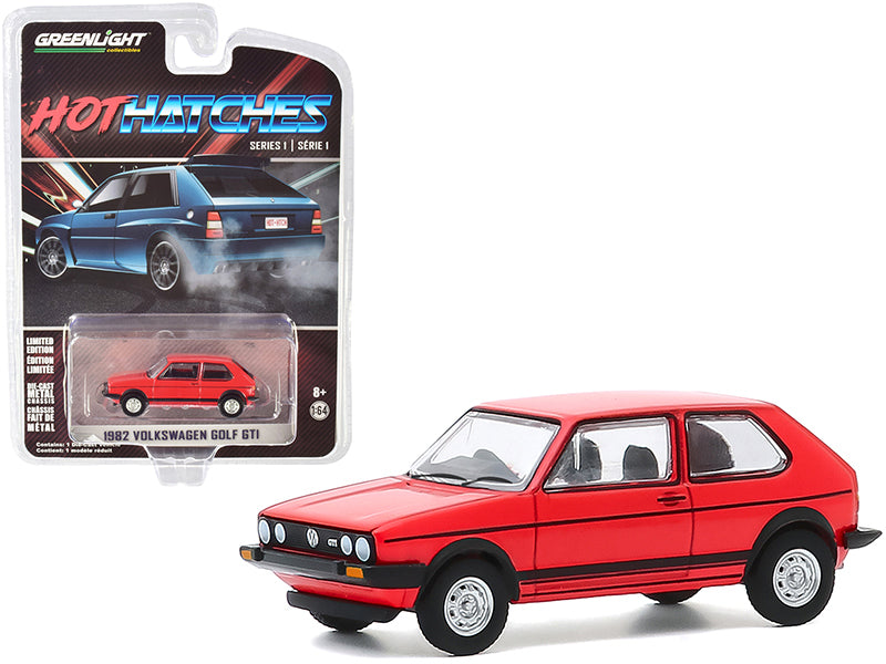 "1982 Volkswagen Golf GTI Red with Black Stripes ""Hot Hatches"" Series 1 Model 1:64 Diecast Car - Greenlight - 47080B"