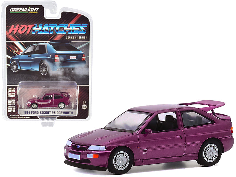 "1994 Ford Escort RS Cosworth Monte Carlo Special Edition Jewel Violet Metallic ""Hot Hatches"" Series 1 Model 1:64 Diecast Car - Greenlight - 47080D"
