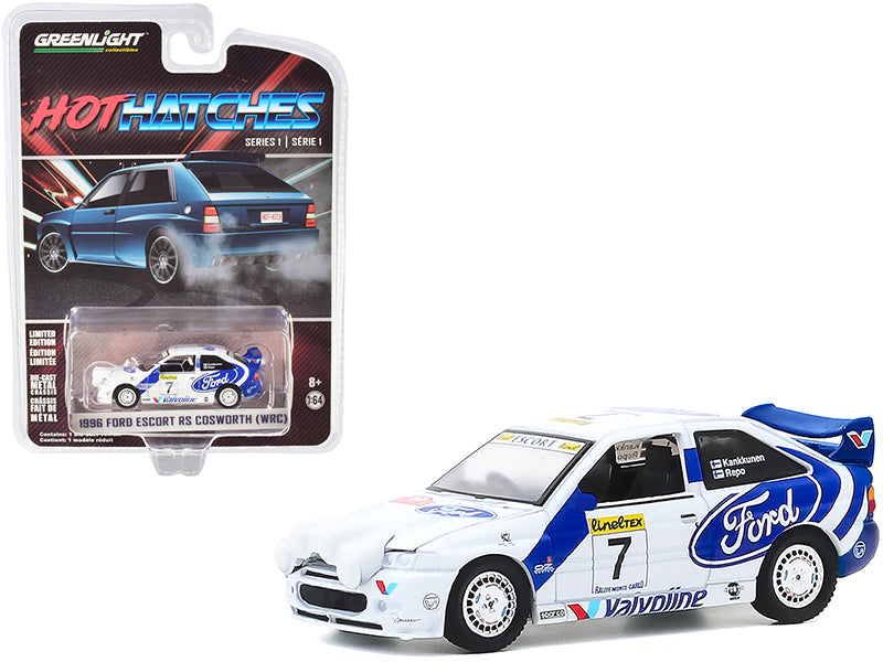 "1996 Ford Escort RS Cosworth (WRC) #7 Rally Car ""Hot Hatches"" Series 1 Model 1:64 Diecast Car - Greenlight - 47080E"