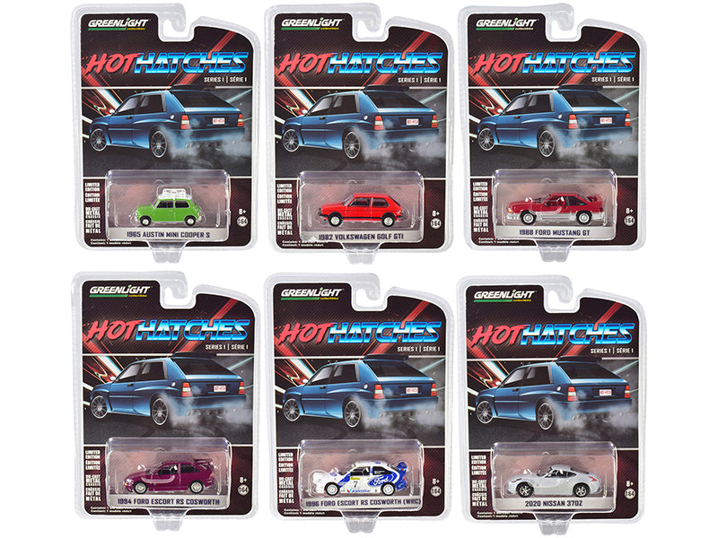 """Hot Hatches"" Set of 6 pieces Series 1 Models 1:64 Diecast Cars - Greenlight - 47080SET"