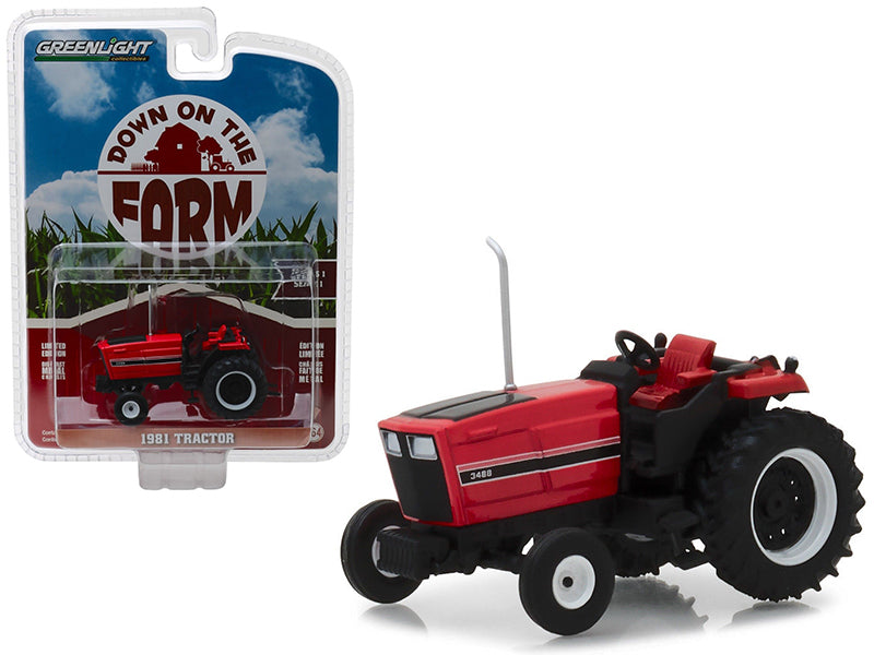 "1981 Tractor 3488 Red & Black ""Down on the Farm"" Series 1 1:64 Diecast Model - Greenlight - 48010E"