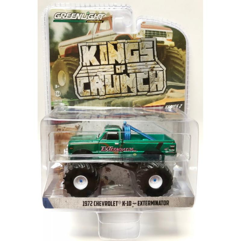 1972 Chevrolet K-10 Exterminator Blue 1:64 Diecast Model Monster Truck Kings of Crunch Series 2- Greenlight - 49020D - CHASE GREEN MACHINE