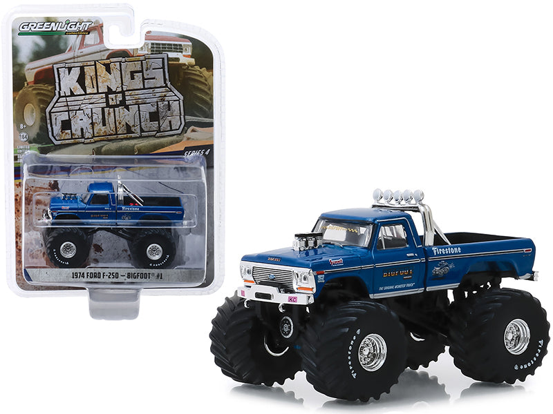 "1974 Ford F-250 Monster Truck ""Bigfoot #1"" w/ 66-Inch Tires Blue (Clean Version) ""Kings of Crunch"" Series 4 1:64 Diecast Model Truck - Greenlight - 49040A"