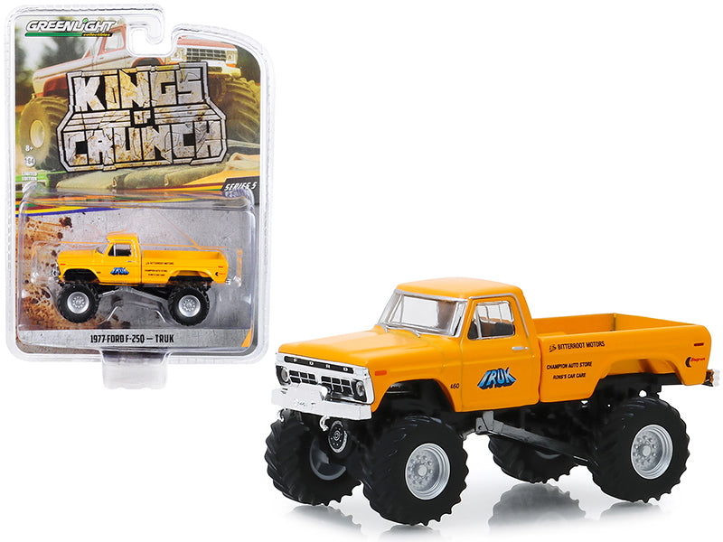 "1977 Ford F-250 Monster Truck ""Truk"" Yellow ""Kings of Crunch"" Series 5 1/64 Diecast Model Car - Greenlight - 49050B"