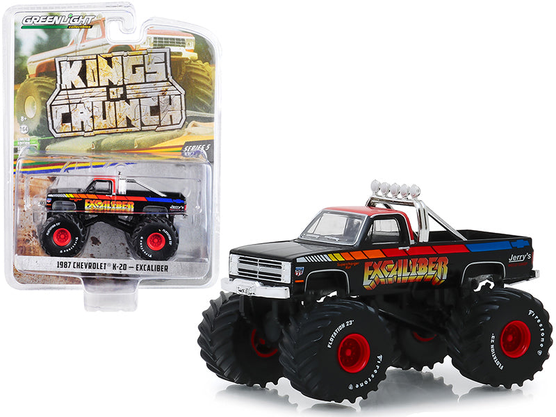 "1987 Chevrolet K-20 Silverado Monster Truck ""Excaliber"" Black with Red Top ""Kings of Crunch"" Series 5 1/64 Diecast Model Car - Greenlight - 49050E"
