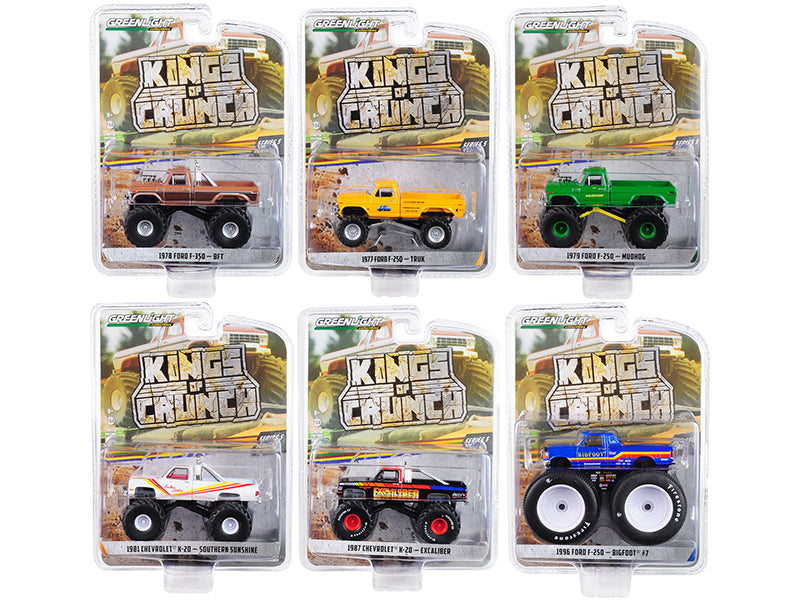 """Kings of Crunch"" Series 5, Set of 6 Monster Trucks 1/64 Diecast Model Cars - Greenlight - 49050"
