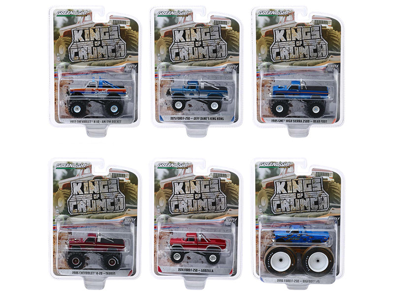 """Kings of Crunch"" Series 6 Models Set of 6 Monster Trucks 1:64 Diecast - Greenlight - 49060SET"