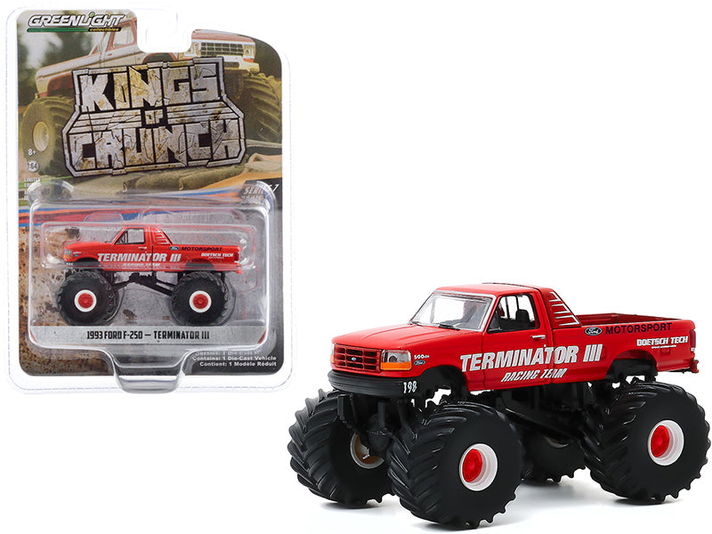 "1993 Ford F-250 Monster Truck ""Terminator III"" Red ""Kings of Crunch"" Series 7 Diecast 1:64 Model Car - Greenlight - 49070E"