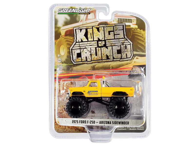 "1975 Ford F-250 Monster Truck ""Arizona Sidewinder"" Yellow ""Kings of Crunch"" Series 8 Diecast 1:64 Model - Greenlight - 49080B"