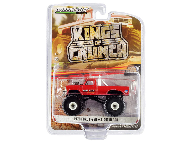 "1978 Ford F-250 Monster Truck ""First Blood"" Red ""Kings of Crunch"" Series 8 Diecast 1:64 Model - Greenlight - 49080C"