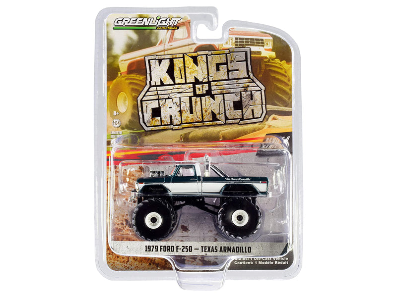 "1979 Ford F-250 Monster Truck ""Texas Armadillo"" Green Metallic and White ""Kings of Crunch"" Series 8 Diecast 1:64 Model - Greenlight - 49080D"