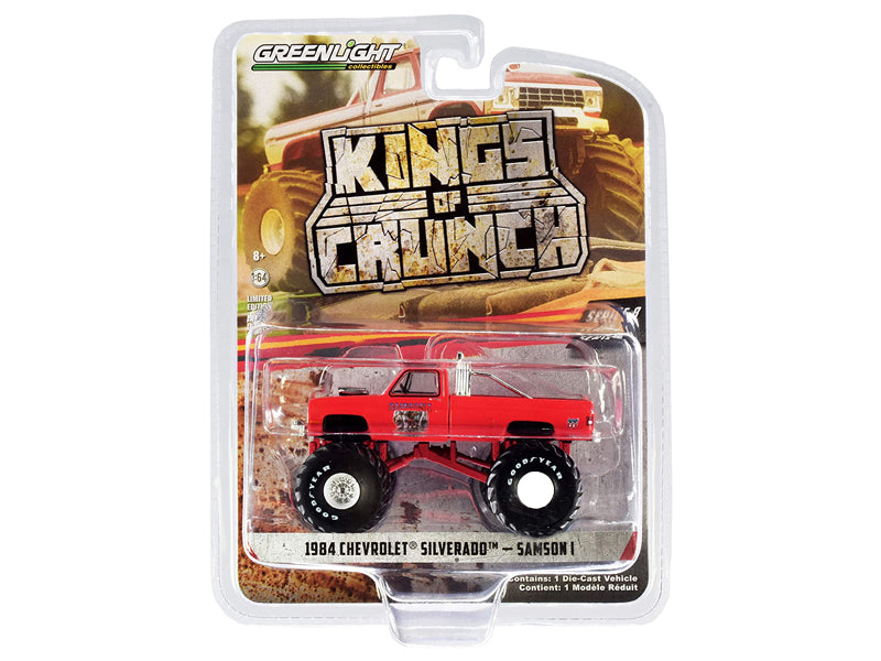 "1984 Chevrolet Silverado Monster Truck ""Samson I"" Red ""Kings of Crunch"" Series 8 Diecast 1:64 Model - Greenlight - 49080E"