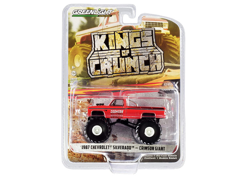 "1987 Chevrolet Silverado Monster Truck ""Crimson Giant"" Red ""Kings of Crunch"" Series 8 Diecast 1:64 Model - Greenlight - 49080F"