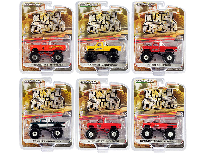 """Kings of Crunch"" Set of 6 Monster Trucks Series 8 Diecast 1:64 Model Cars - Greenlight - 49080"