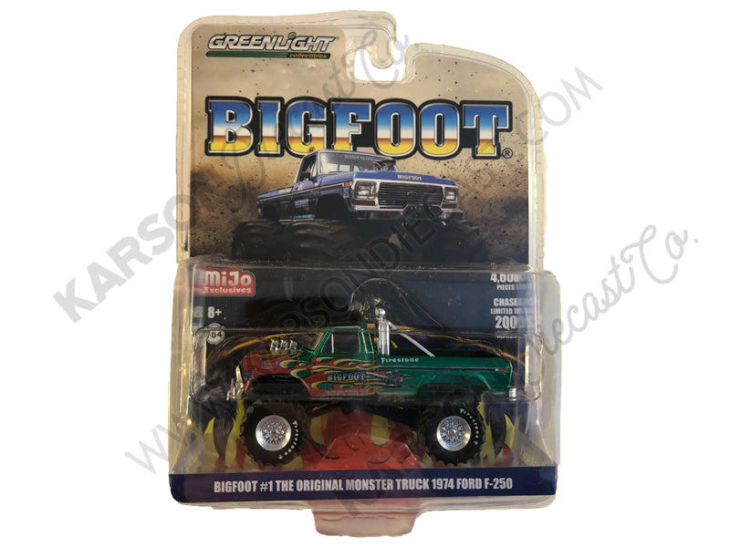 "1974 Ford F-250 Monster Truck ""Bigfoot #1 The Original"" Blue with Flames Limited Edition to 4,600 pieces Worldwide 1/64 Diecast Model Car - Greenlight - 51282 - CHASE GREEN MACHINE"