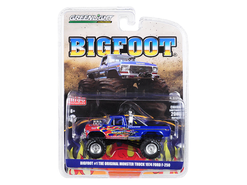 "1974 Ford F-250 Monster Truck ""Bigfoot #1 The Original"" Blue with Flames Limited Edition to 4,600 pieces Worldwide 1/64 Diecast Model Car - Greenlight - 51282"