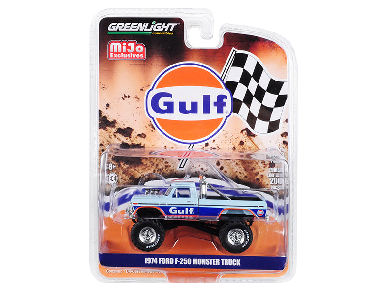"1974 Ford F-250 Monster Truck ""Gulf"" Blue w/ Orange Stripes Limited Edition to 4,600 pieces Worldwide 1/64 Diecast Model Car - Greenlight - 51288"