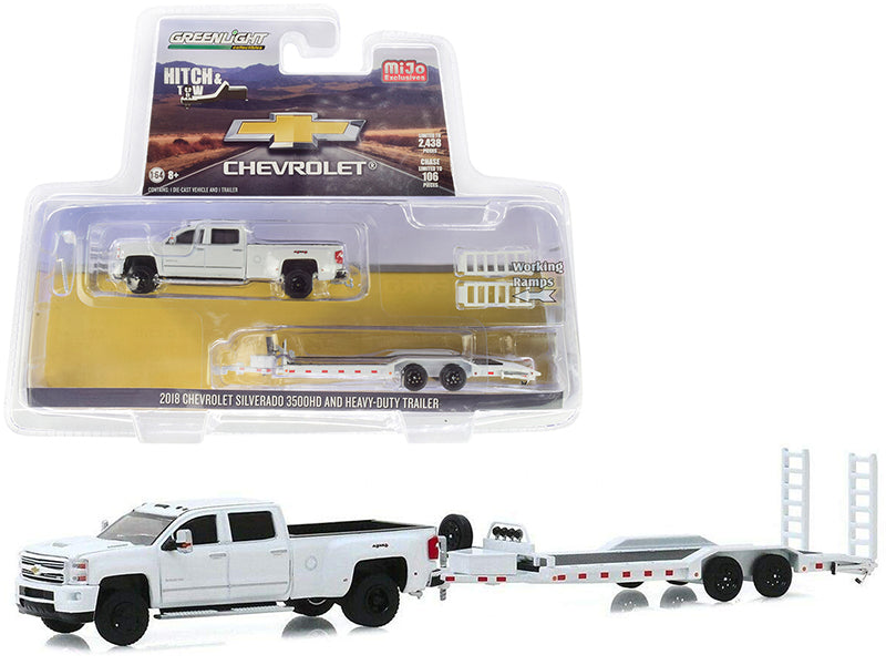 "2018 Chevrolet Silverado 3500HD Pickup Truck with Heavy-Duty Flatbed Trailer White ""Hitch & Tow"" Series Limited Edition to 2,438 pieces Worldwide 1/64 Diecast Model Car - Greenlight - 51306"