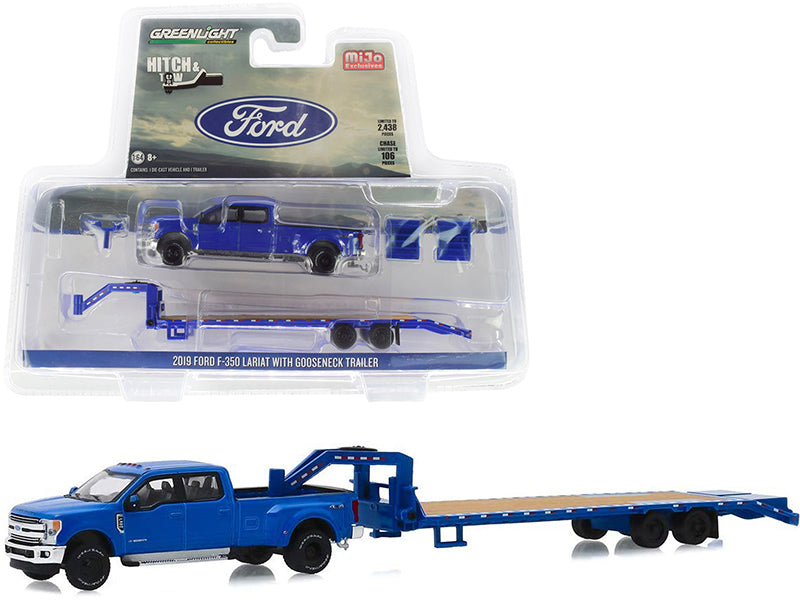"2019 Ford F-350 Lariat Pickup Truck with Gooseneck Trailer Blue ""Hitch & Tow"" Series Limited Edition to 2,438 pieces Worldwide 1/64 Diecast Model Car - Greenlight - 51307"